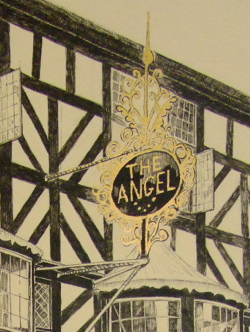 Sign of the Angel Inn, Ludlow embellished with Gold Leaf